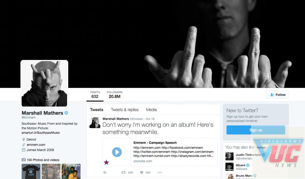Dòng tweet mới nhất của Eminem