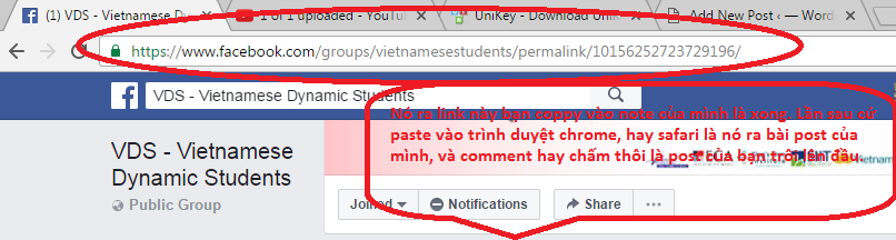 Khi ấn vào thời gian mình post bài, link của bạn nhận được sẽ thế này